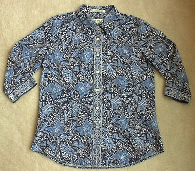 5dc8e736 Orvis Women's Blue Floral Casual Button Down 3/4th Sleeve Shirt Size 6