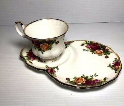 Vintage 1962 Royal Albert Old Country Roses Snack Plate w Cup ~ Coffee Tea