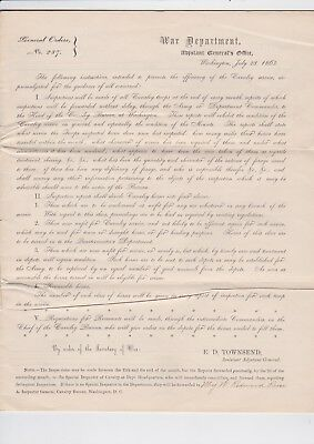 1863 Civil War General Orders No. 237 - Cavalry Inspection Blank But Signed Form