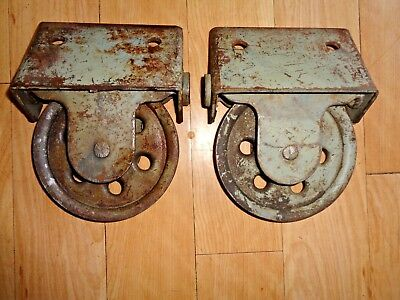 2 Vintage Industrial Barn Door Pocket  Pulley Rollers Trolley Parts Repurpose