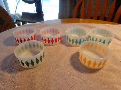 Vintage Set of 6 FIRE-KING Diamond Pattern Stacking Cereal Bowls 4 diff colors