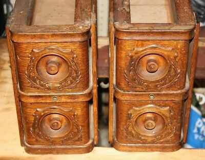 set of 4 Vintage Oak Singer Treadle Sewing Machine Drawers with frames