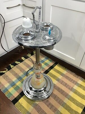Vintage Art Deco 1930's Lighted Smoking Stand Slag Glass Chrome Finish