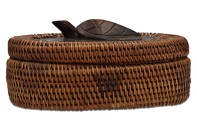 A vintage Indonesian hand woven basket Tribal Hand carved turtle lid