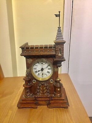 Junghans Black Forest Castle Case Alarm Clock. C.1900