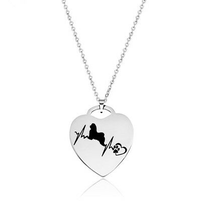 Shih Tzu Dog Love Heartbeat Heart Shaped Stainless Steel Pendant Necklace
