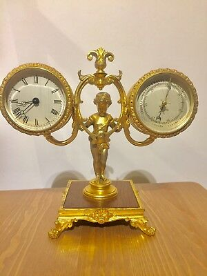 Rare Antique Small French Gilt Bronze Clock With Barometer. C1880