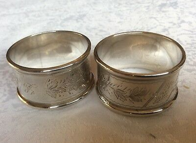 Quality Pair of Antique Victorian Solid Sterling Silver Napkin Rings Birmingham