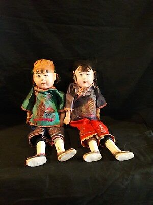 Pair of antique Chinese Dolls in Rare Large Size