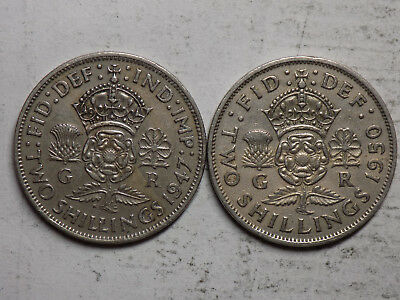 Great Britain Pair of King George VI 2 Shilling Coins (N11)