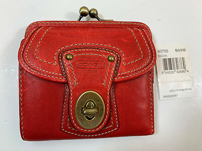 COACH LEGACY 40705 Ltr FRAME KISSLOCK FRENCH FRAME PURSE Wallet ~RARE CHILI RED