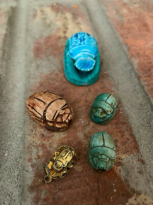 Lot of 5 Carved EGYPTIAN SCARAB Sculptures Figurines, Beetles, Beads