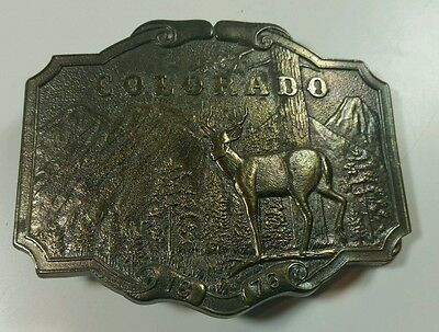 Vtg Brass Belt Buckle Wyoming Studio Art Works 1974 Colorado Deer and Mountain