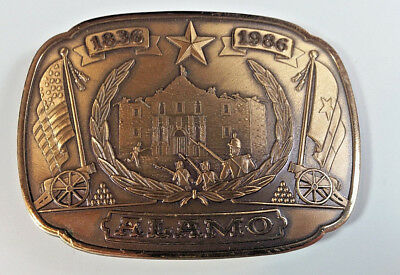 Vtg Limited Edition The Alamo 150 Anniversary Bronze Belt Buckle with COA 1986