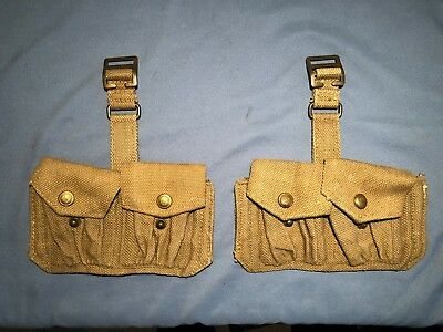 1 Pair of WWII British Army Enfield CARTRIDGE CARRIERS P 37- 1943 Date Unissued
