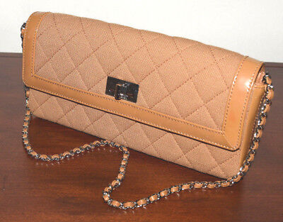 f9c3c7d23965 CHANEL Brown Leather Patent and Fabric Quilted Shoulder chain Flap Bag    7023066