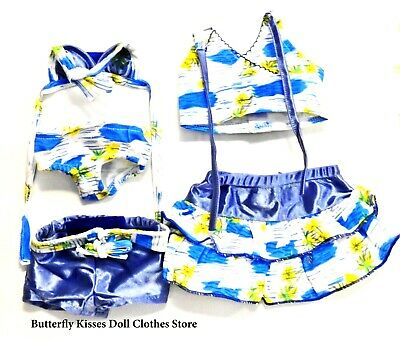 Tropical Swim~Bathing Suit  Mix-Match 5 PC 18 in Doll Clothes Fits American Girl