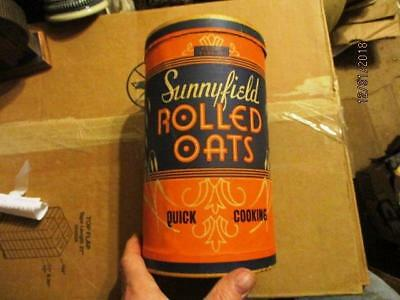 Sunnyfield Rolled Oats 3 Lb Round Board Can Box A & P Atlantic Pacific Tea 1935?