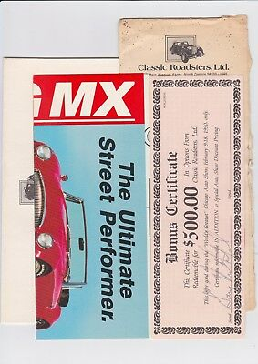 """Classic Roadsters ltd.8.5""""x 11"""" Poster Mail Advertisement With Bonus Certificate"""