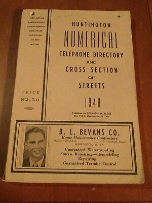 1948 Huntington West Virginia Numerical Telephone Directory WV Phone Book