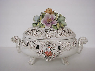 Old Large Italy Ardalt Ceramic flower footed centerpiece bowl with signature