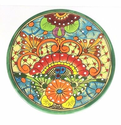 """Mexican Talavera Plate Hand Painted Clay Folk Art Potery 11.5"""""""
