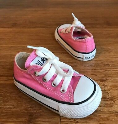 Converse Baby Toddler Girls Pink Shoes Chuck Taylor Sneakers Sz 4