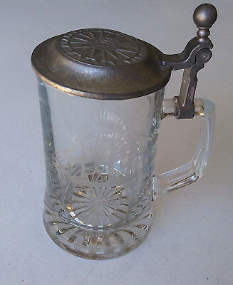 Alwe OLD SPICE German Cut Glass Tankard Stein GRAND TURK 1786 Pewter Lid