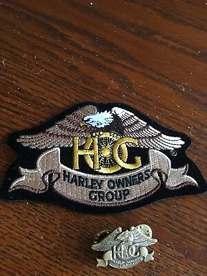 Vintage Harley Owners Group HOG Eagle w/ Spoked Wheel Logo Embroidered Patch wit