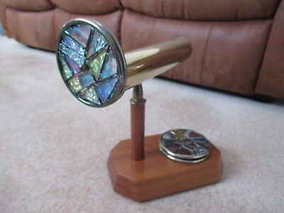 Kaleidoscope - Brass with wooden handle & 4 coloured glass discs