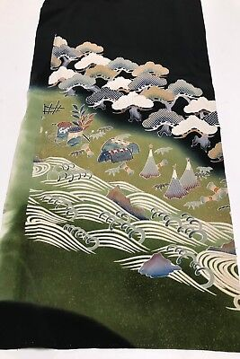 @@Vintage/Japanese tomesode kimono silk fabric/ pine trees, waves P412
