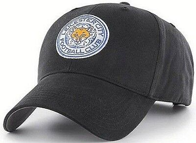 Leicester City Fc Embroidered Crest Adult Adjustable Black Baseball Cap Lcfc