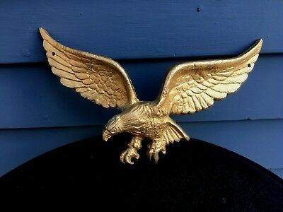 "Vintage small cast metal eagle patriotic decor painted gold 10"" indoor outdoor"