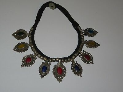Vintage/Antique Silver Choker Necklace w/Stones-Believe Hand Forged Medallions