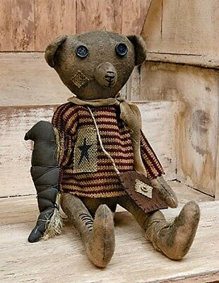 New Primitive Grungy Americana Antique Style TATTERED TEDDY BEAR CROW Doll