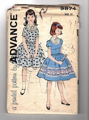 Advance 9874 Girls Size 12 Dress - Remains in Factory Folds UNCUT