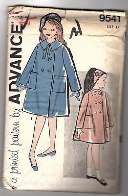 Advance 9541 Girls Size 12 Coat - Remains in Factory Folds UNCUT