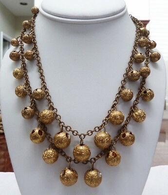 VTG 1930s-40s 2-STRAND ENGRAVED CUT OUT BRASS RUSSIAN GOLD PLATE BEAD NECKLACE