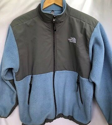 The North Face Blue and Gray Fleece Zip Front Jacket Size Youth Large Nice!