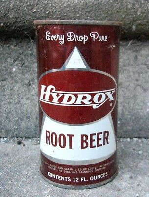 HYDROX Root Beer Soda Flat Top Can. Chicago Illinois.