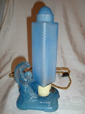 Vintage All Original Art Deco Lady With Harp Blue Frosted Boudoir Table Lamp