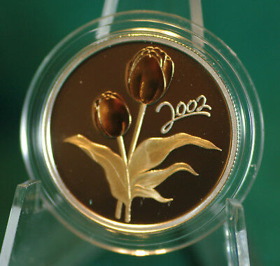 2002 CANADA Tulip 50 cent coin Sterling silver with gold plating