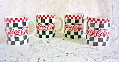 Vintage Coca-Cola Diner Cup Mug Black White Checkered W Red @ 1996 Gibson