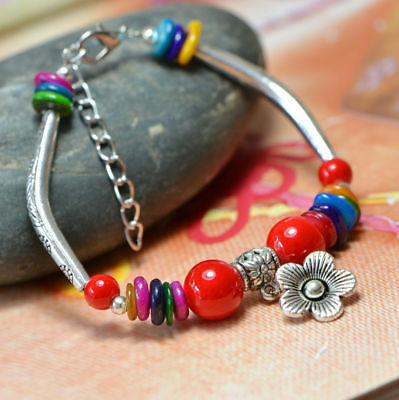 Natural Red Coral & Tibet Silver Handwork  National Fashion Bracelet  @AA26 !