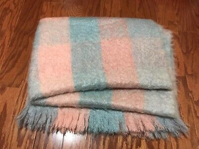 Vintage LIBERTY OF LONDON SCOTTISH MOHAIR THROW BLANKET BLUE PINK