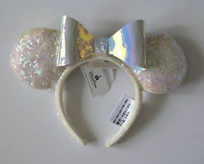 Disney Parks Iridescent White Sequin Minnie Mouse Ears Headband New With Tags