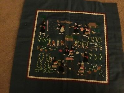 Folk Art Embroidery Textile  - Hmong Story Cloth Wall Hanging