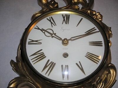 Vintage Syroco Mid-Century 8 Day Gold Wall Clock With Key Working!