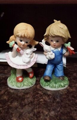Girl and Boy Antique Figurine set