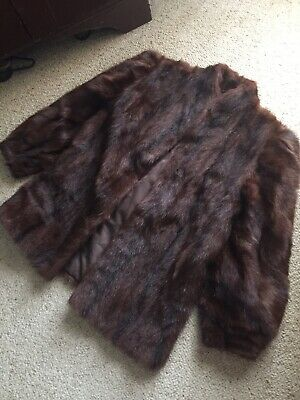 Russian Marmot Vintage Fur Jacket Genuine size 16 brown